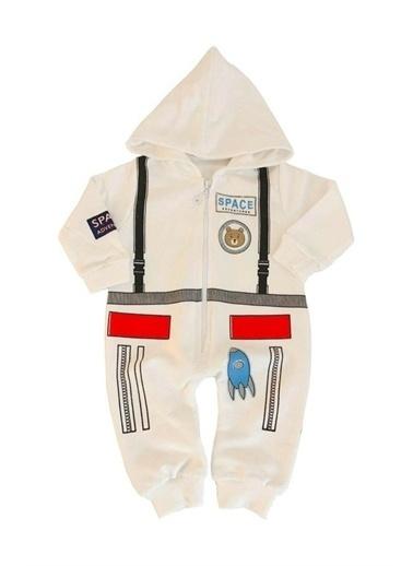Papyon Baby Kids Astronot Şekilli Kapşonlu Karan Bebek Tulum Beyaz